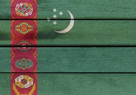 Illustration of Turkmenistan flag over a wood surface