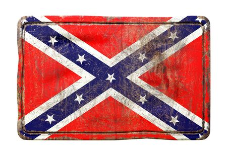 3d rendering of a USA confederated flag over a rusty metallic plate isolated on white