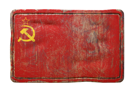 3d rendering of an old Soviet Union flag over a rusty metallic plate isolated on white background