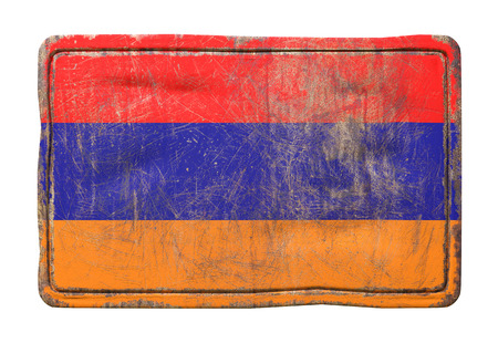 3d rendering of an Armenia flag over a rusty metallic plate. Isolated on white background.