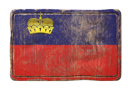 3d rendering of a Liechtenstein flag over a rusty metallic plate. Isolated on white background.