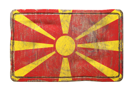 3d rendering of a Macedonia flag over a rusty metallic plate. Isolated on white background.