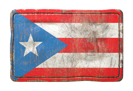 3d rendering of a Puerto Rico flag over a rusty metallic plate. Isolated on white background.