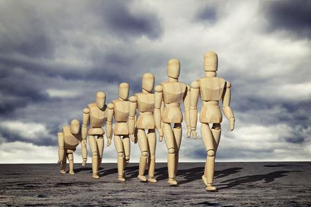 Rendu 3D d'un prototype de jouets de mannequin en bois de l'évolution humaine. Banque d'images - 92888175