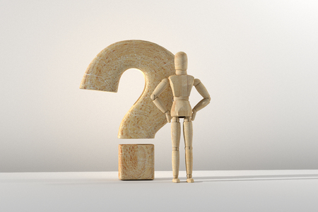 3d rendering of wooden mannequin toy prototype of human and question mark. Stock Photo