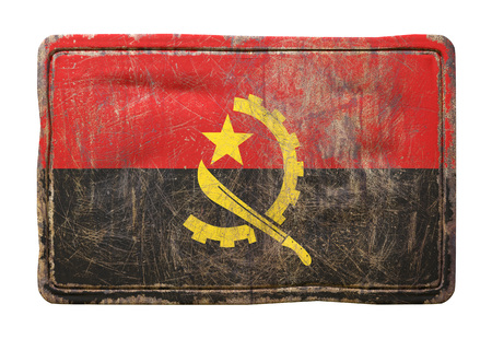 3d rendering of a Republic of Angola flag over a rusty metallic plate. Isolated on white background.