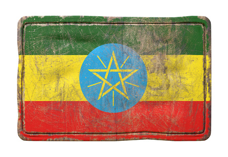 3d rendering of a Ethiopia flag over a rusty metallic plate. Isolated on white background. Stock Photo