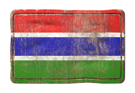 3d rendering of a Gambia flag over a rusty metallic plate. Isolated on white background.