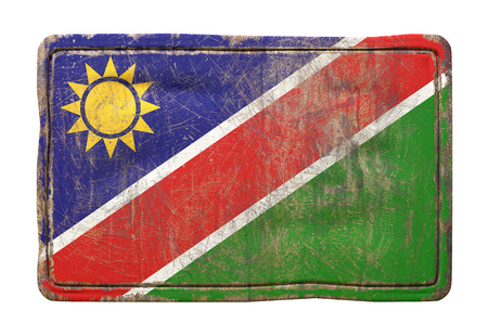 3d rendering of a Republic of Namibia flag over a rusty metallic plate. Isolated on white background.