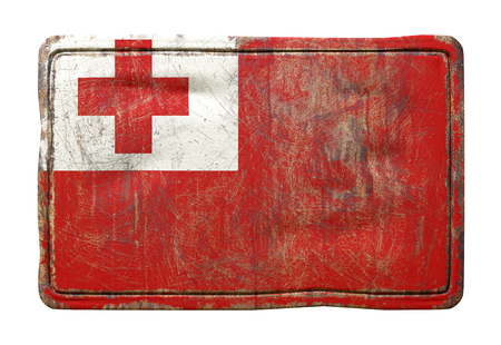 3d rendering of a Tonga flag over a rusty metallic plate. Isolated on white background. Stock Photo