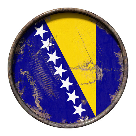 3d rendering of a Bosnia and Herzegovina flag over a rusty metallic plate. Isolated on white background.