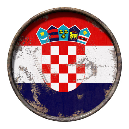 3d rendering of a Croatia flag over a rusty metallic plate. Isolated on white background.