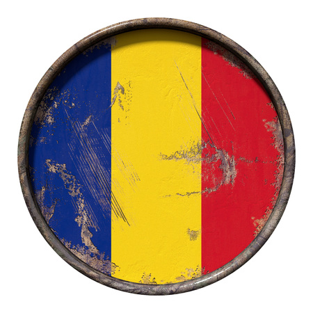 3d rendering of a Romania flag over a rusty metallic plate. Isolated on white background.