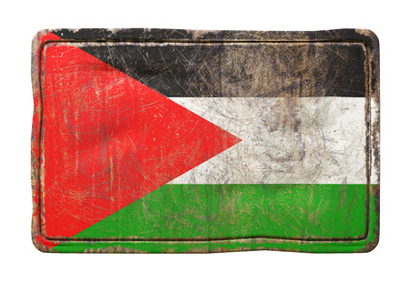 3d rendering of a Palestine flag over a rusty metallic plate. Isolated on white background. Stock Photo