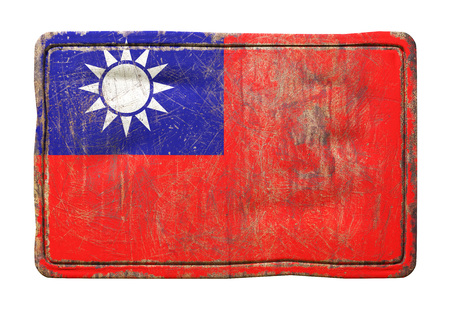 3d rendering of a Taiwan flag over a rusty metallic plate. Isolated on white background. Stock Photo