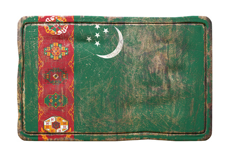 3d rendering of a Turkmenistan flag over a rusty metallic plate. Isolated on white background. Stock Photo