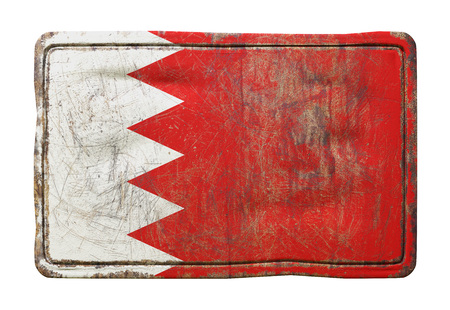 3d rendering of a Bahrain flag over a rusty metallic plate. Isolated on white background.