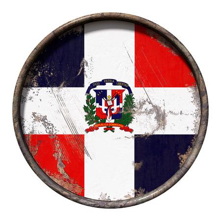 3D-Rendering einer Dominikanischen Republik Flagge über eine rostige metallische Platte . Getrennt auf weißem Hintergrund