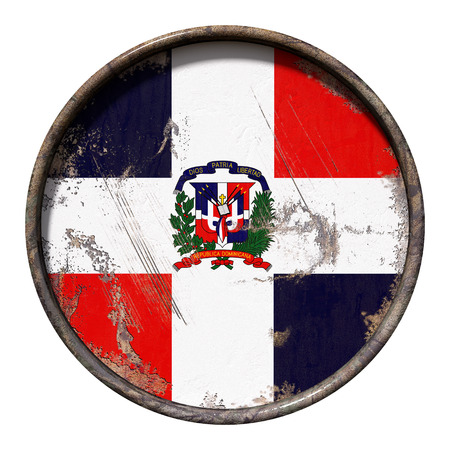 3d rendering of a Dominican Republic flag over a rusty metallic plate. Isolated on white background.