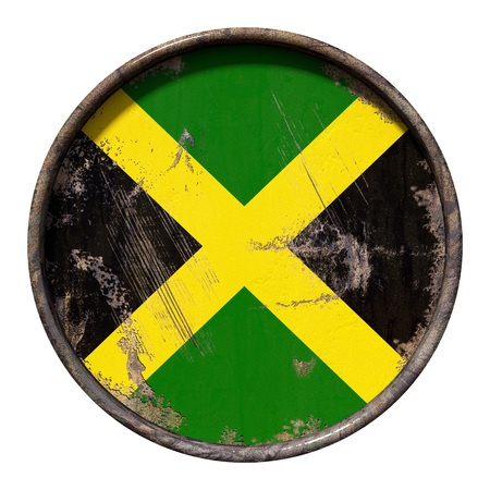 3d rendering of a Jamaica flag over a rusty metallic plate. Isolated on white background. Stock Photo