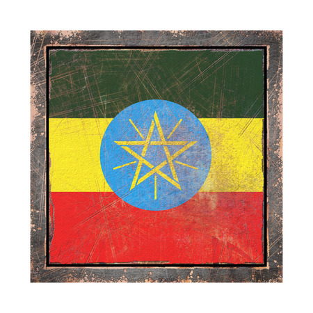 3d rendering of an Ethiopia flag over a rusty metallic plate wit a rusty frame. Isolated on white background.