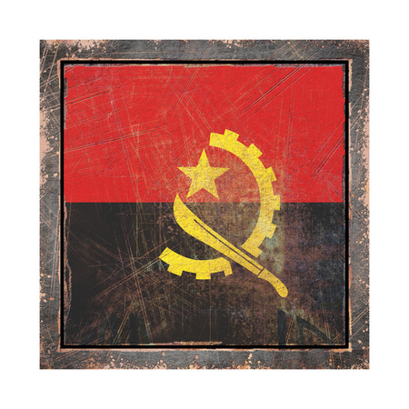 3d rendering of an Angola flag over a rusty metallic plate wit a rusty frame. Isolated on white background.