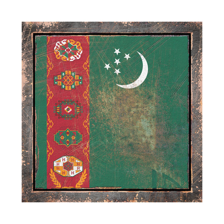 3d rendering of a Turkmenistan flag over a rusty metallic plate wit a rusty frame. Isolated on white background.