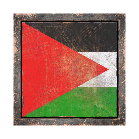 3d rendering of a Palestine flag over a rusty metallic plate wit a rusty frame. Isolated on white background.