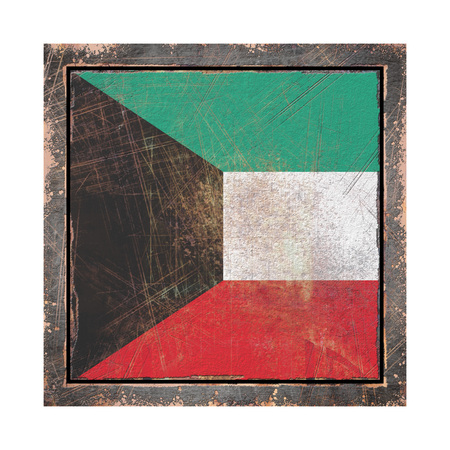 3d rendering of a Kuwait flag over a rusty metallic plate wit a rusty frame. Isolated on white background. Stock Photo