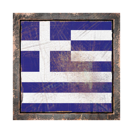 3d rendering of a Greece flag over a rusty metallic plate wit a rusty frame. Isolated on white background. Stock Photo