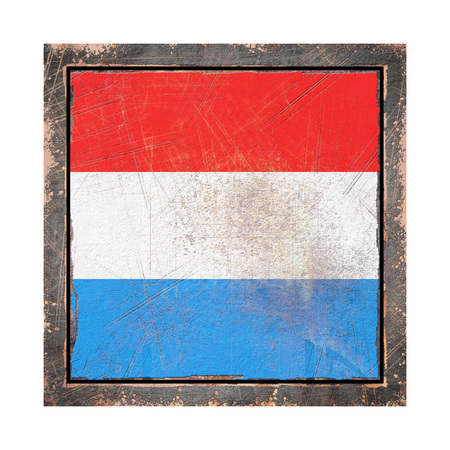 3d rendering of a Luxembourg flag over a rusty metallic plate wit a rusty frame. Isolated on white background.
