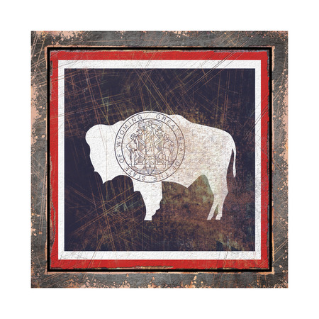 3d rendering of a Wyoming State flag over a rusty metallic plate wit a rusty frame. Isolated on white background.