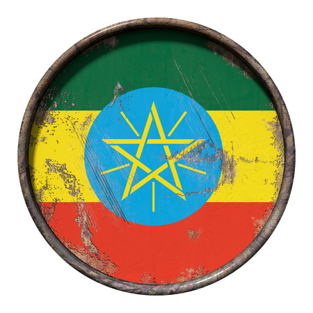 3d rendering of an Ethiopia flag over a rusty metallic plate. Isolated on white background. Stock Photo