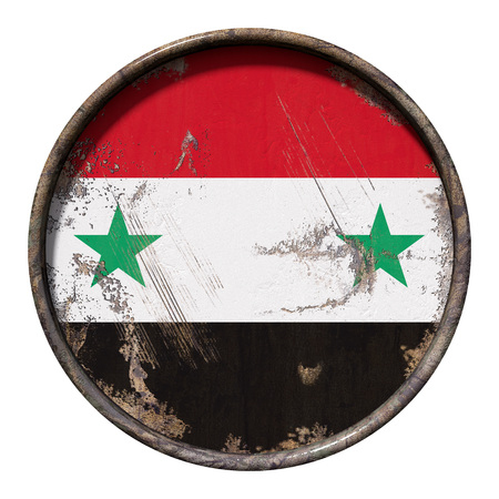 3d rendering of a Syria flag over a rusty metallic plate. Isolated on white background. Reklamní fotografie
