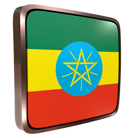 3d rendering of an Ethiopia flag icon with a metallic frame. Isolated on white background.