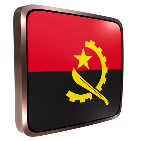 3d rendering of an Angola flag icon with a metallic frame. Isolated on white background.