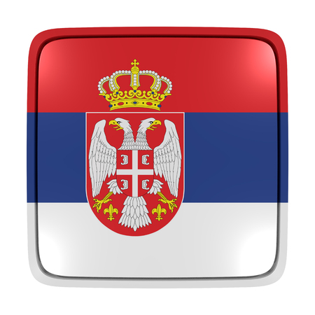 3d rendering of a Serbia flag icon. Isolated on white background. 写真素材