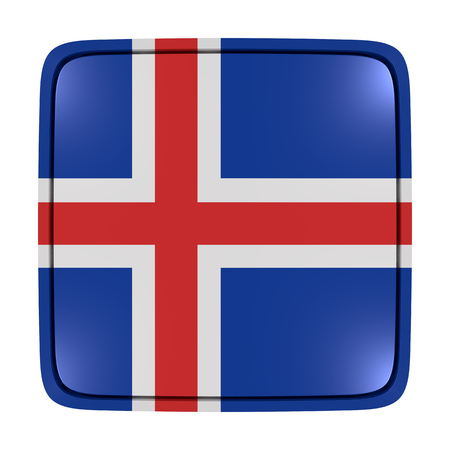 3d rendering of an Iceland flag icon. Isolated on white background.
