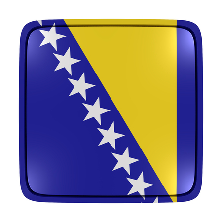 3d rendering of a Bosnia and Herzegovina flag icon. Isolated on white background.