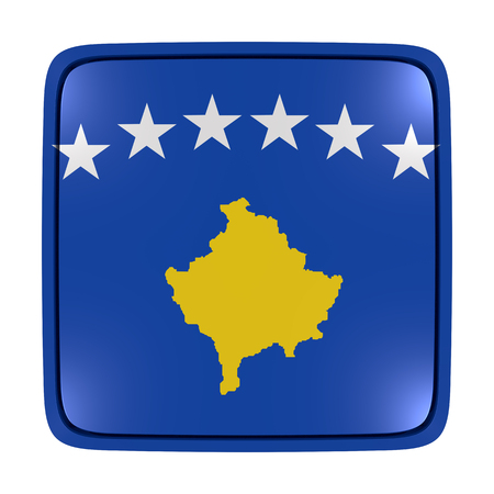 3d rendering of a Kosovo flag icon. Isolated on white background. 写真素材