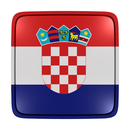 3d rendering of a Croatia flag icon. Isolated on white background.