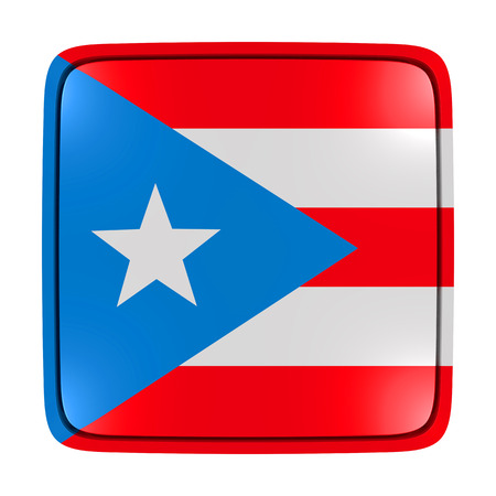 3d rendering of a Puerto Rico flag icon. Isolated on white background. Stock Photo