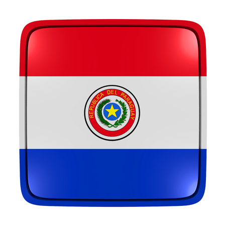 3d rendering of a Paraguay flag icon. Isolated on white background.