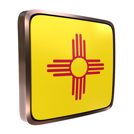 3d rendering of a New Mexico State flag icon with a bright frame. Isolated on white background.