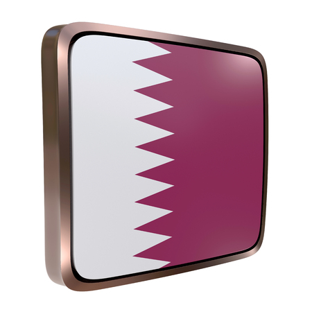 3d rendering of a Qatar flag icon with a metallic frame. Isolated on white background.