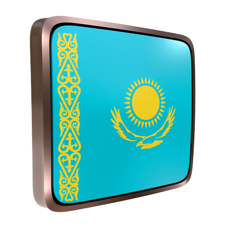 3d rendering of a Kazakhstan flag icon with a metallic frame. Isolated on white background.