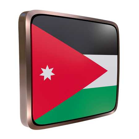 3d rendering of a Jordan flag icon with a metallic frame. Isolated on white background. Stock Photo