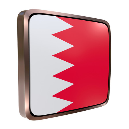 3d rendering of a Bahrain flag icon with a metallic frame. Isolated on white background. Stock Photo