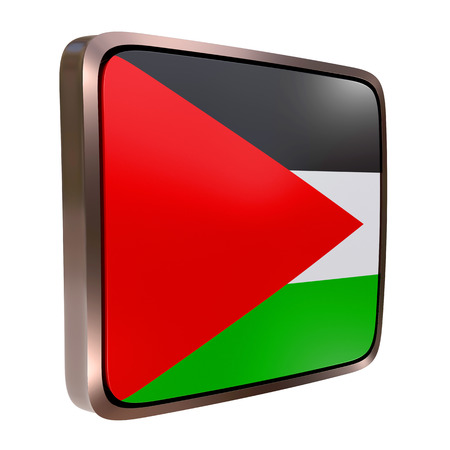 3d rendering of a Palestine flag icon with a metallic frame. Isolated on white background.