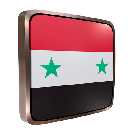 3d rendering of a Syria flag icon with a metallic frame. Isolated on white background. Reklamní fotografie